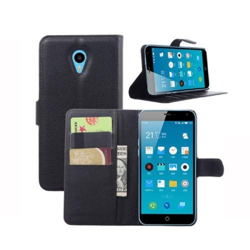MEIZU M1 NOTE - pouzdro (kryt) peněženka se stojánkem - černé