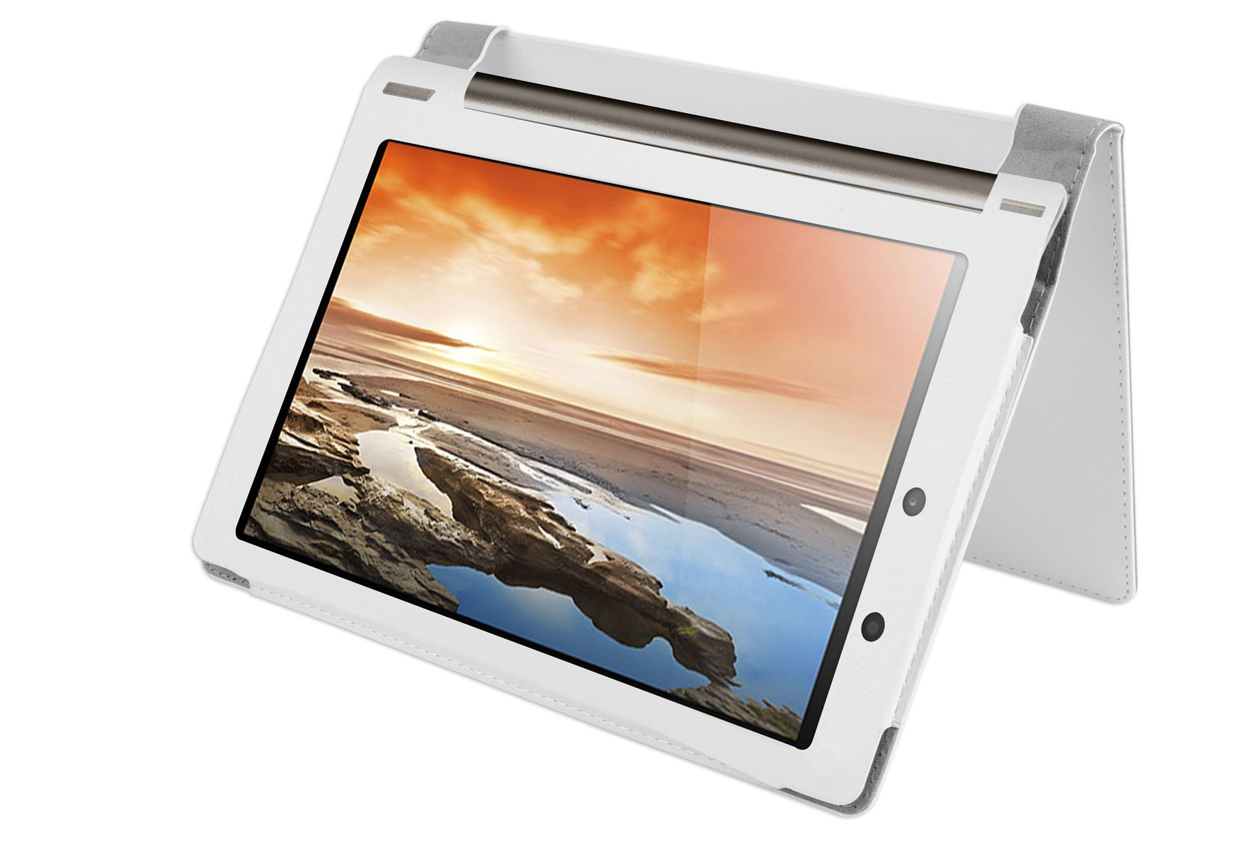 "Lenovo YOGA Tablet 10"" Full HD - kožené pouzdro se stojánkem - BÍLÉ"