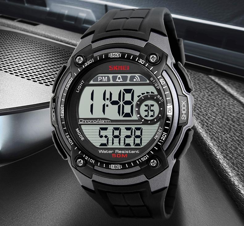 Hodinky SKMEI 1203 TITANIUM - pánské sportovní digitální vodotěsné hodinky