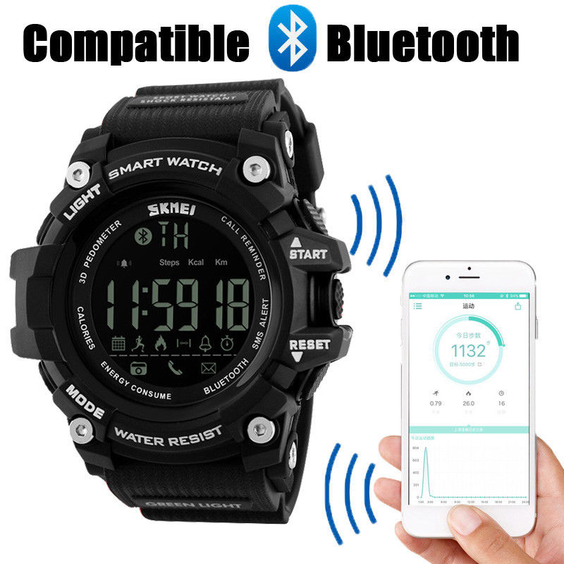 afb35c89a Hodinky SKMEI 1227 - Bluetooth chytré sportovní vodotěsné hodinky - BLACK