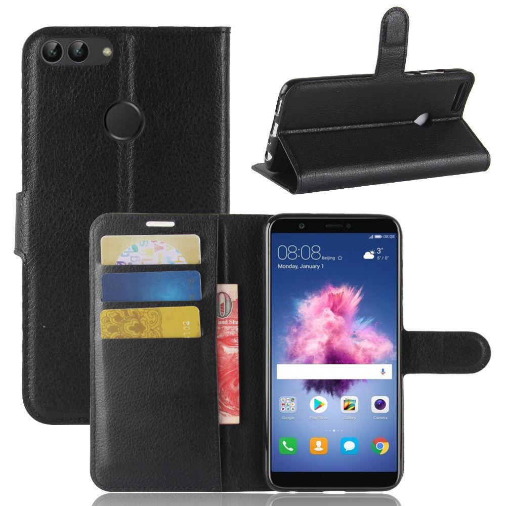 c9a6759fc40 HUAWEI P SMART - pouzdro (kryt obal) peněženka se stojánkem - černé empty
