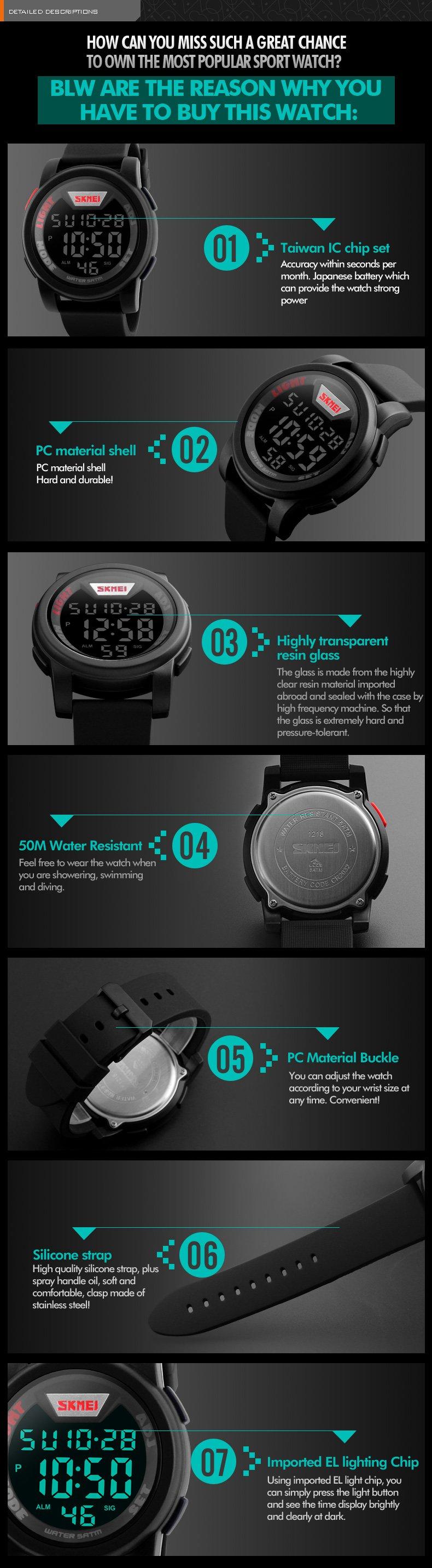 Kompletní specifikace · Ke stažení · Související zboží (1) · Komentáře (0).  Pánské značkové hodinky SKMEI 1218. Digitální hodinky vodotěsné do 50 m 68070cf601f