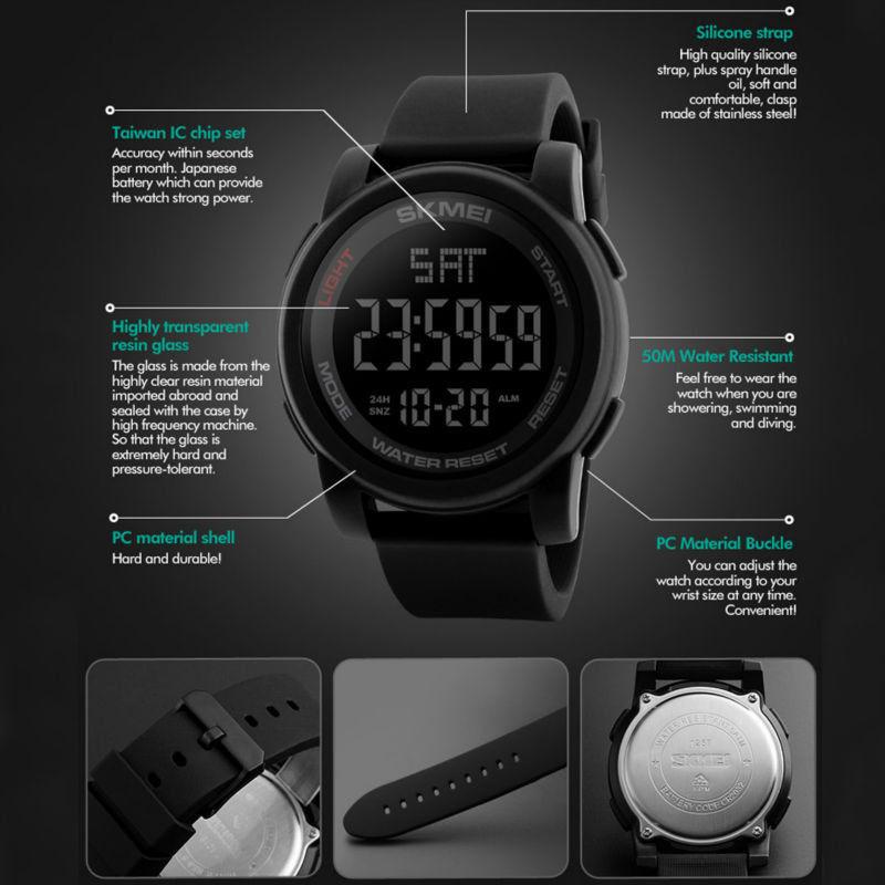 a4f0d3f0f75 Kompletní specifikace · Ke stažení · Související zboží (1) · Komentáře (0).  Pánské značkové hodinky SKMEI 1257. Digitální hodinky vodotěsné do 50 m